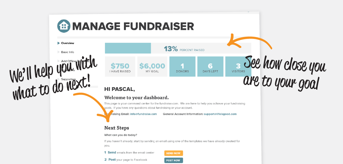 Manage your fundraiser